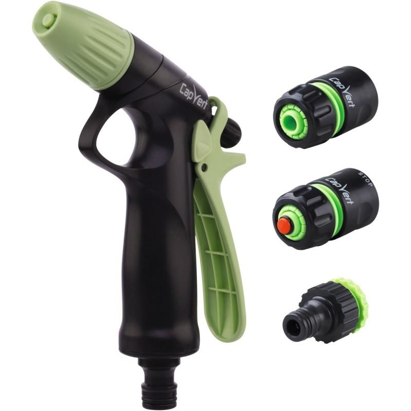 Kit pistolet d'arrosage ABS à jet progressif et raccords