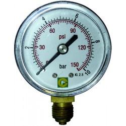 "Manomètre 0-10 bars diamètre 50 mm fil.1/4"" radial"