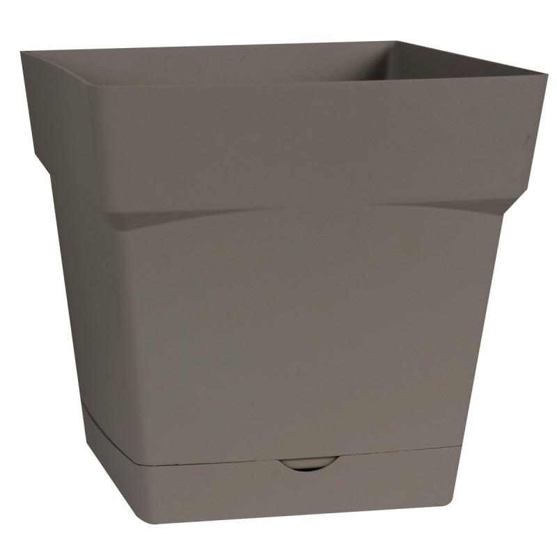Pot plastique carre Toscane soucoupe intégrée