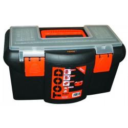 Boite à outils polypropylène incassable avec porte outils amovible (420x230x230)