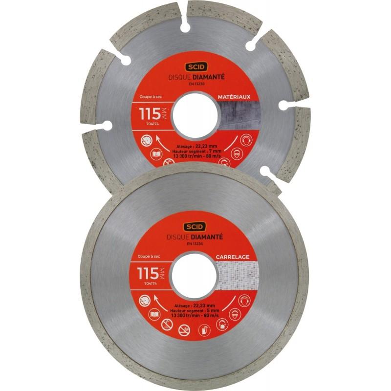 Lot 2 disques materiaux carrelage standards
