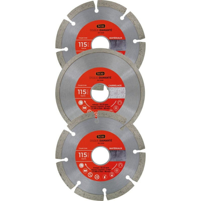 Lot 3 disques materiaux carrelage standards