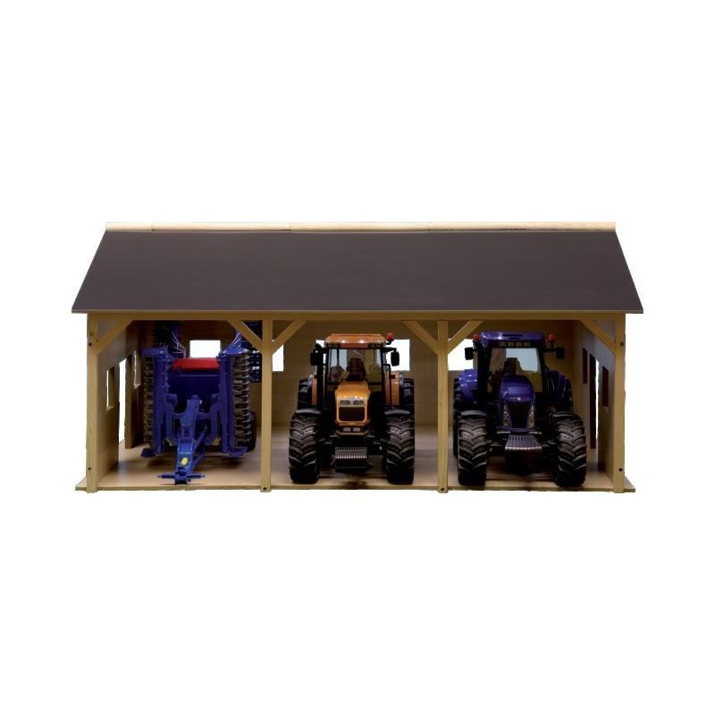 Hangar en bois pour 3 tracteurs angles modulables 610340