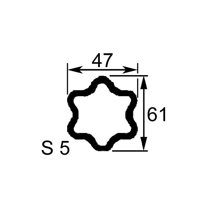 TUBE PROFIL (S5) EXT.47X61X4,5 LONGUEUR 960 MM