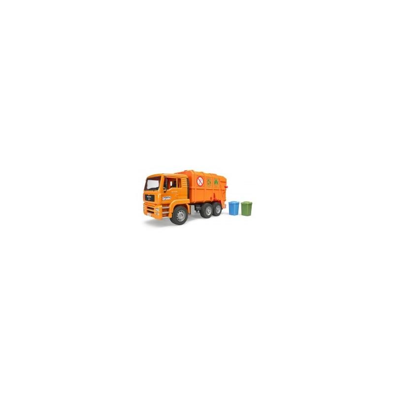 Camion poubelle MAN TGA orange avec 2 poubelles au 1/16ème
