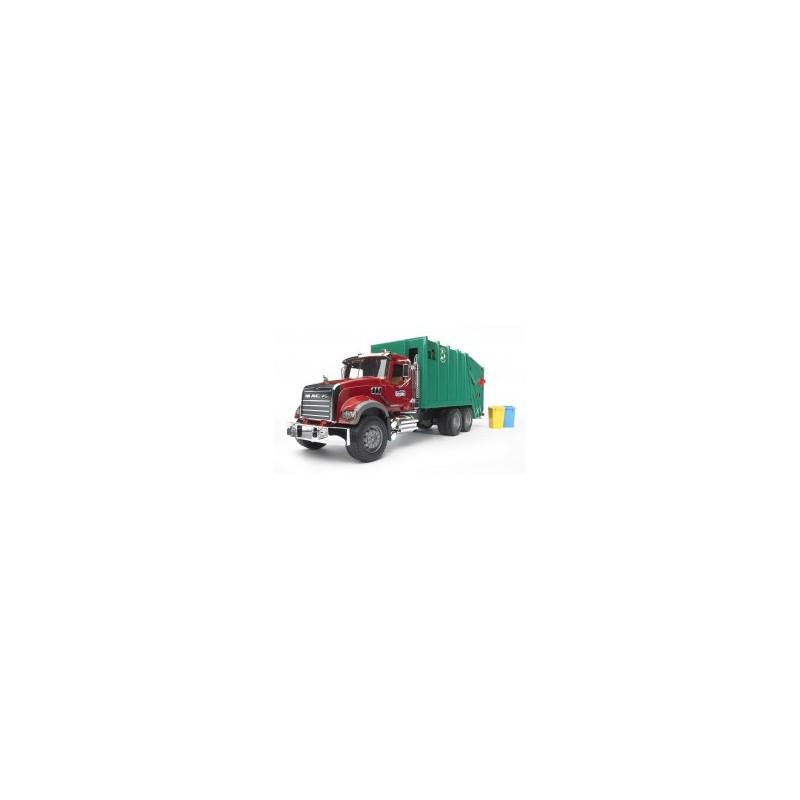 Camion poubelle Mack avec 2 poubelles au 1/16ème