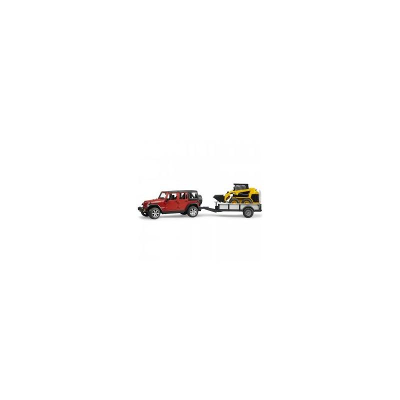 Jeep wrangler unlimited rubicon avec remorque, chargeur caterpillar au 1/16ème