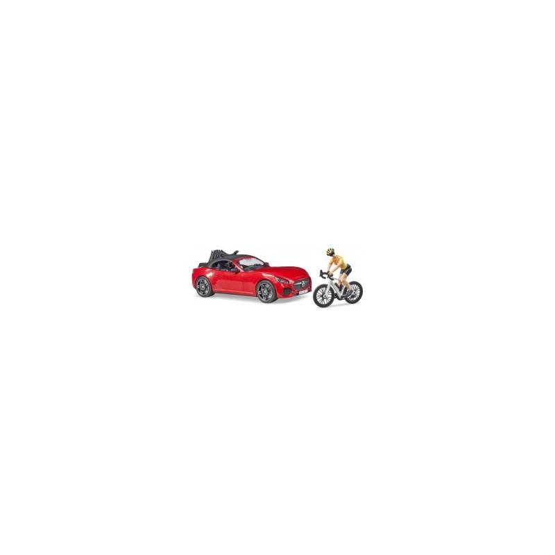 Véhicule Roadtser et porte-vélos, un vélo de route et un cycliste au 1/16ème