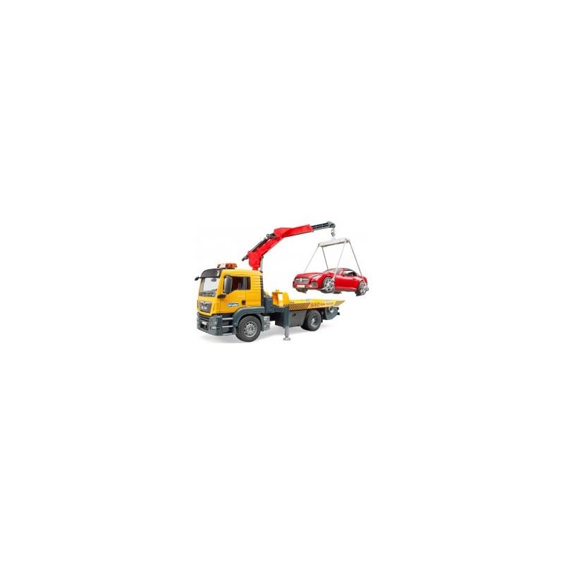 Camion de dépannage man TGS avec véhicule roadster au 1/16ème
