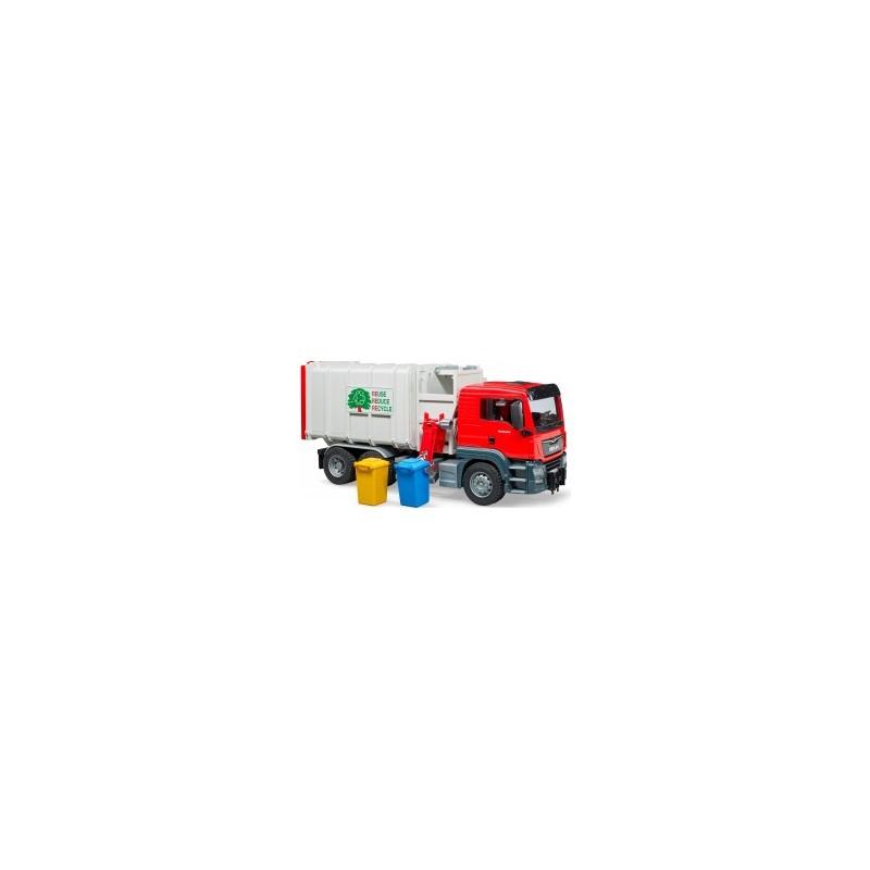 Camion poubelle Man TGS et 2 poubelles chargement lateral au 1/16ème