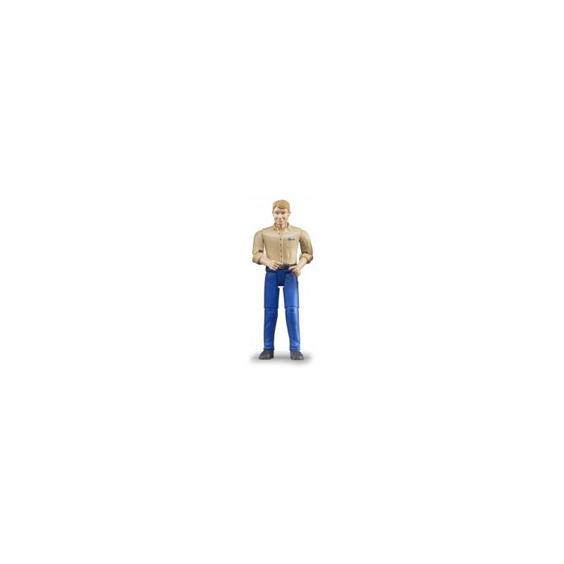 Homme blond avec jean bleu au 1/16ème