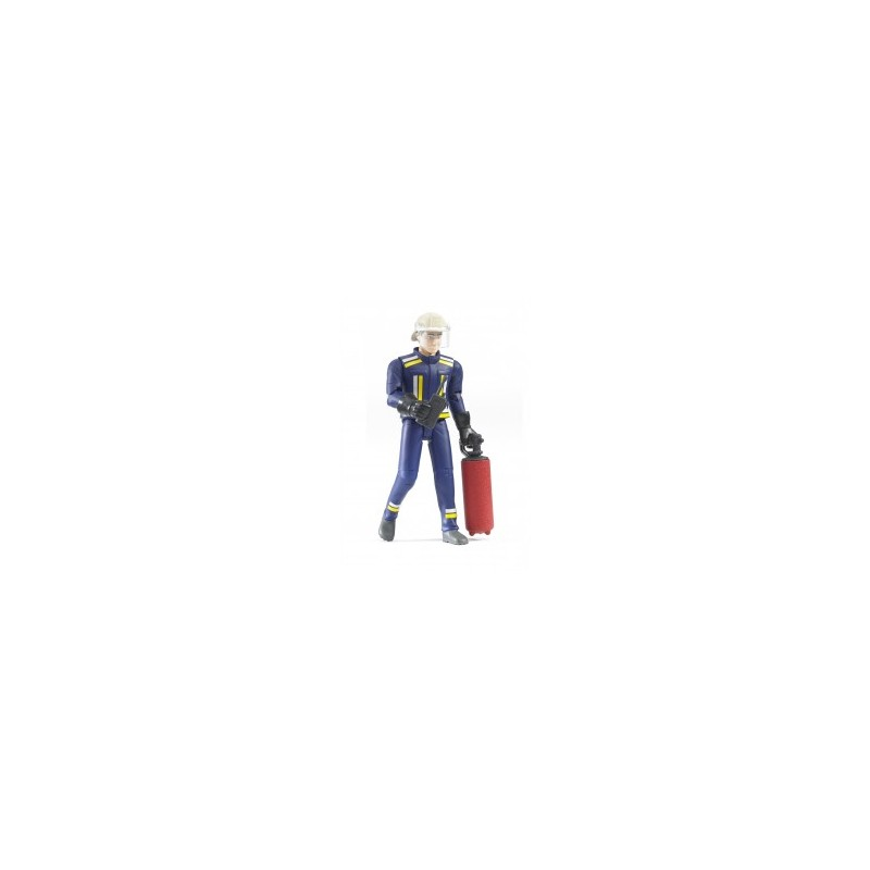 Pompier avec casque, gants et accessoires au 1/16ème