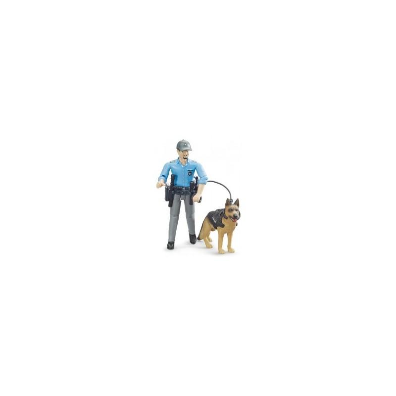 Coffret figurine policier avec un chien au 1/16ème