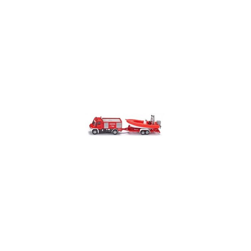Camion de pompier Unimog avec bateau au 1/64ème