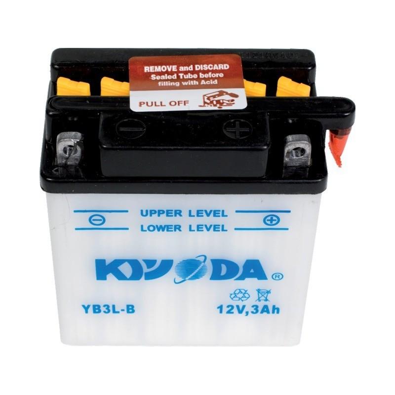 Batterie moto yb3l-b + 1 bidon de 1l d'acide