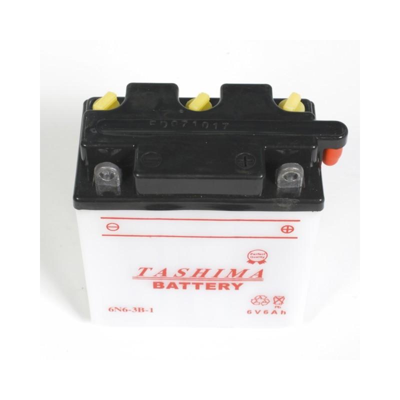 Batterie moto 6n6-3b1 / 6v + 1 bidon de 1l d'acide