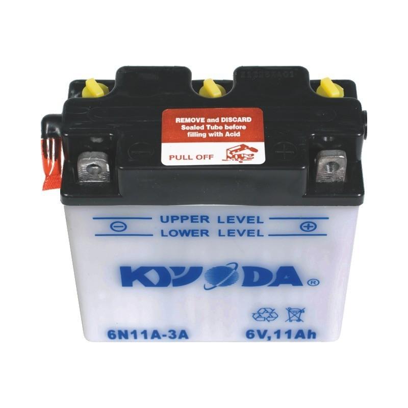 Batterie 6n11a-1b / 6n11a-3a pack acide inclus