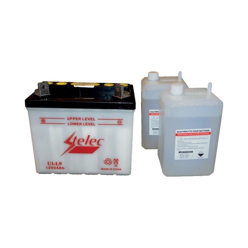Batterie type u1l-9 (+ à gauche) avec pack acide