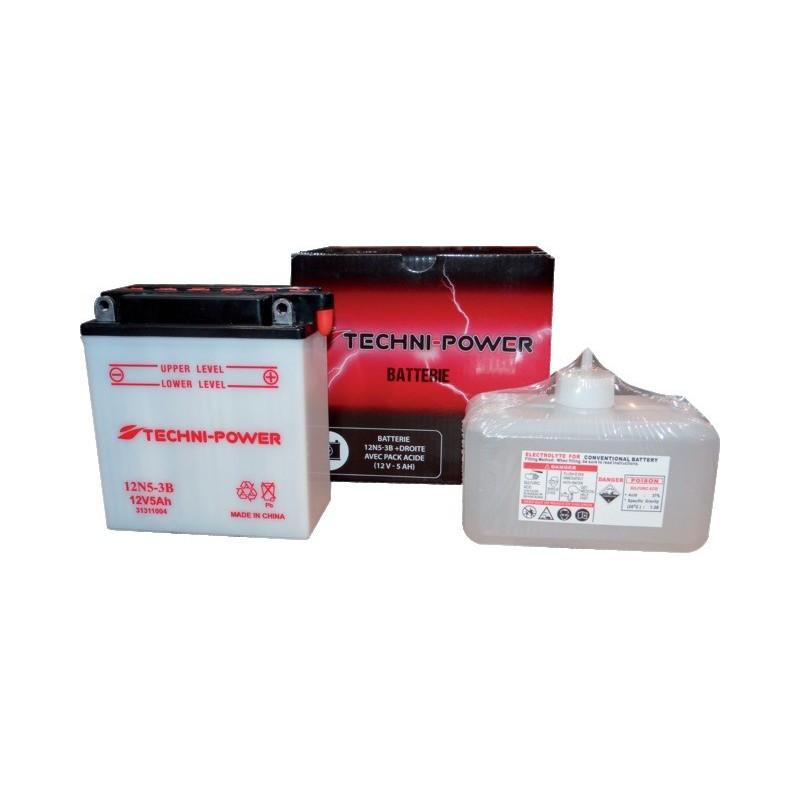 Batterie type 12n5-3b (+ à droite) avec pack acide