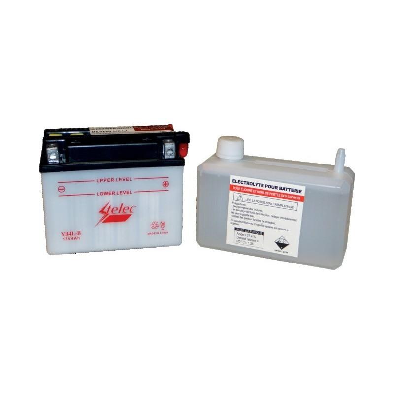 Batterie type yb4l-b (+ à droite) avec pack acide
