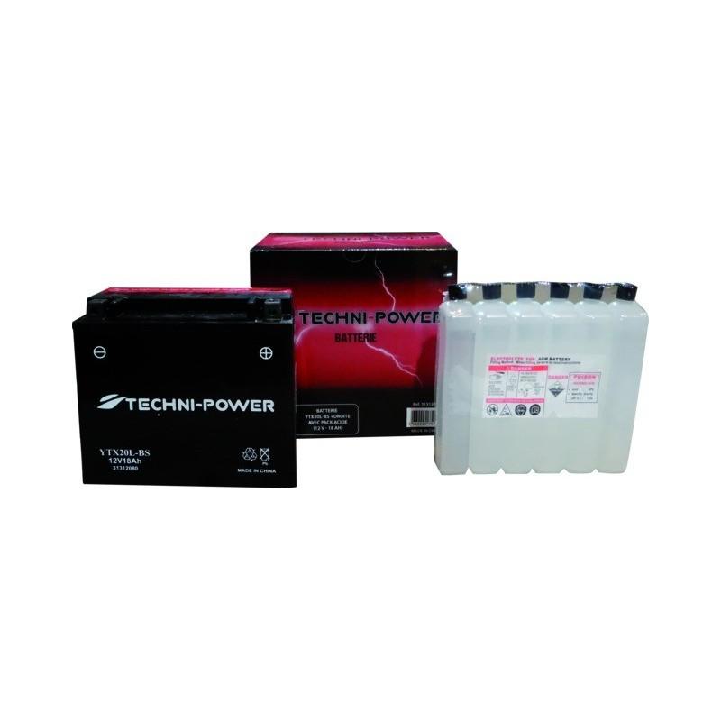 Batterie type ytx20l-bs (+ à droite) avec pack acide