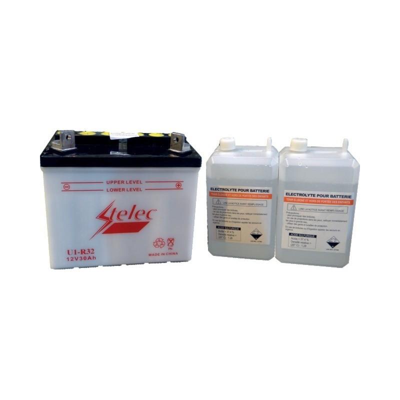 Batterie type u1-r32/u1-r11 ( + à droite) avec pack acide