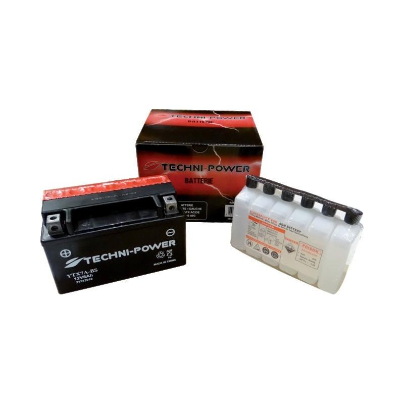 Batterie type ytx7a-bs (+ à gauche) avec pack acide