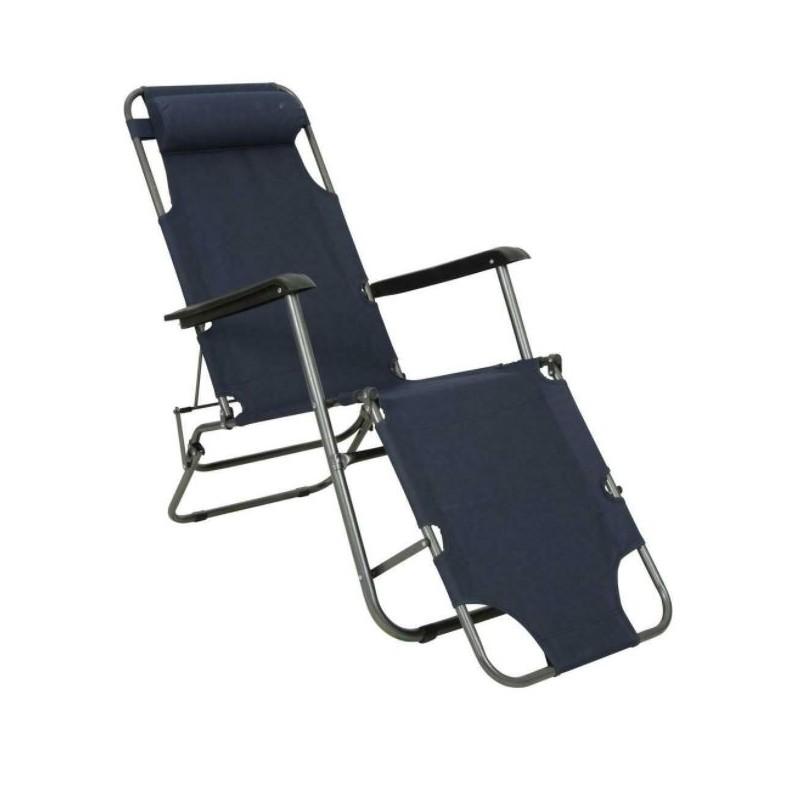Lot de 2 chaises longues pliantes bleu marine