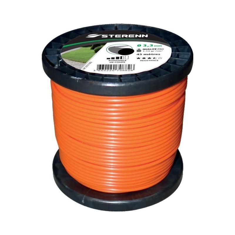 Fil nylon rond bobine 45m 3.3mm bob orange