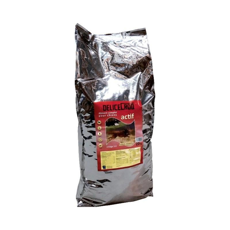 Aliment complet chien actif viande/poisson 20 kgs