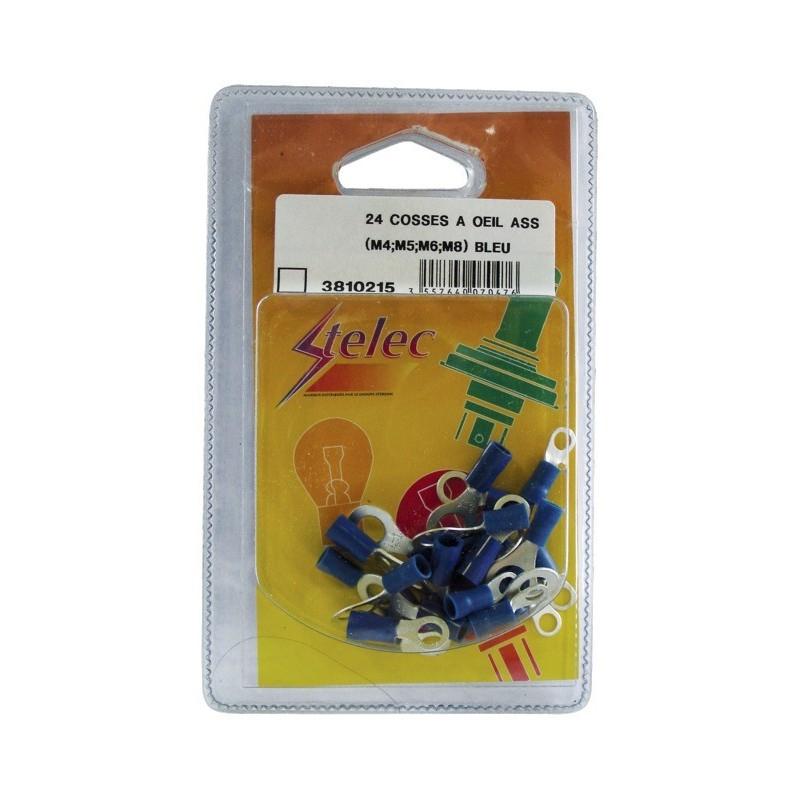 Cosses à œil assorties bleu (box de 24)
