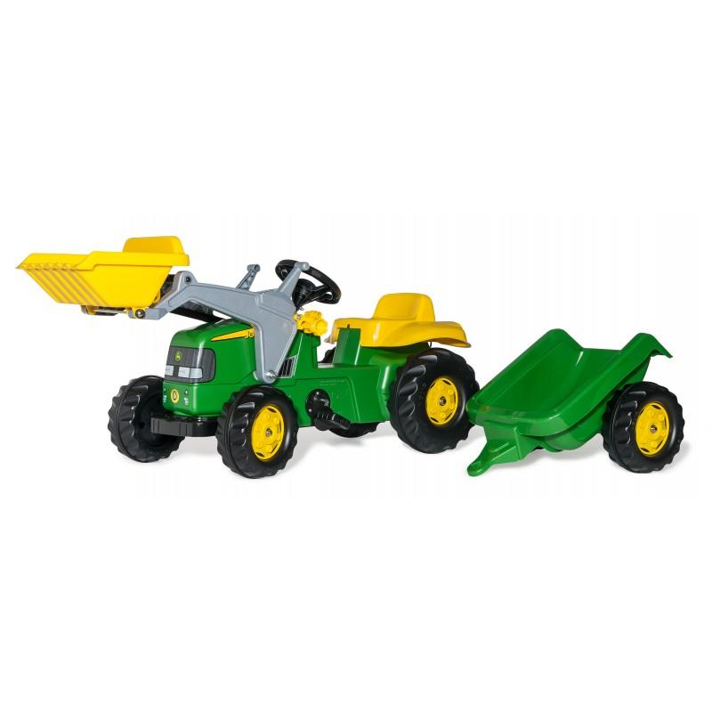 Tracteur John Deere avec chargeur et remorque