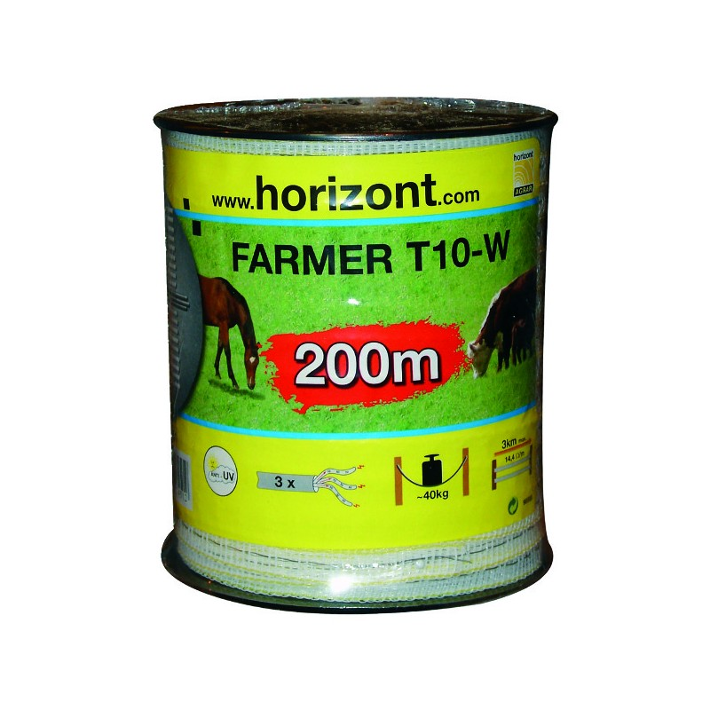 RUBAN FARMER T10-W 10MM BLANC 3 INOX 200M