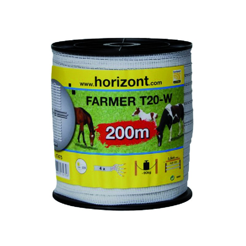 RUBAN FARMER T20-W 20MM BLANC 4 INOX 200M