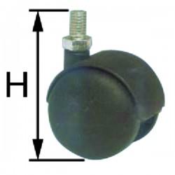 Roulette fauteuil M8 d50 double galet pp noir