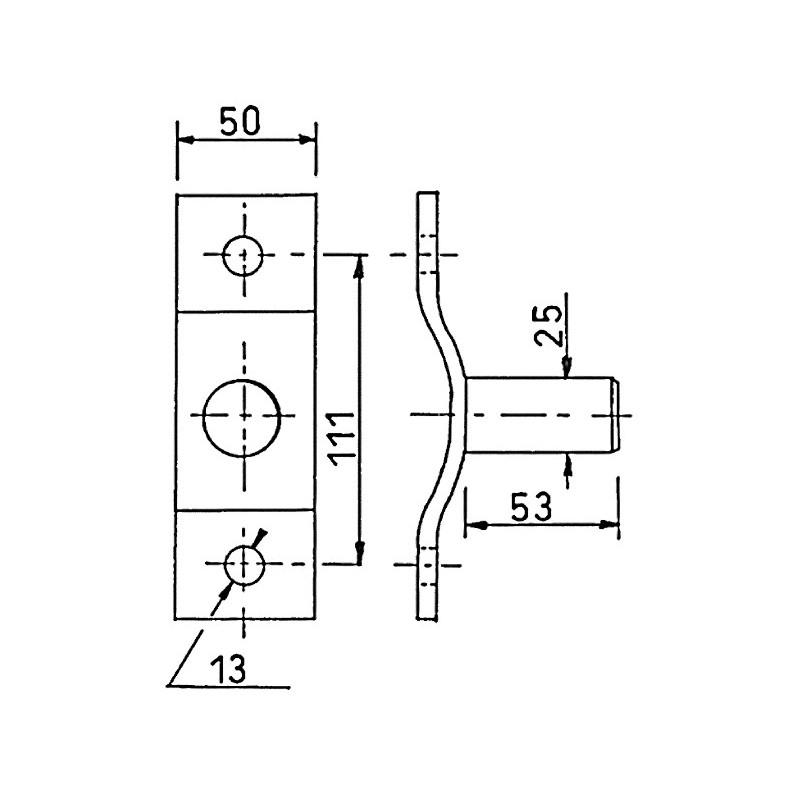 AXE KAERA A PLATINE D25 S/ PLAT 50X6