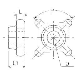Noix pour chaine plate 73/9 - 4 emp. al32