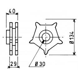 Noix acier avec moyeu diamètre 30 mm