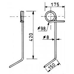 Dent de semoir gauche FLE3041 adaptable Nodet