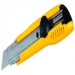 Cutter 18 mm verrouillable molette jaune + 3 Lames