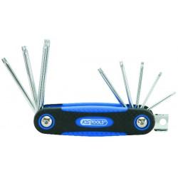 Jeu de clés mâle Torx perce /monture 8 pièces chrome+
