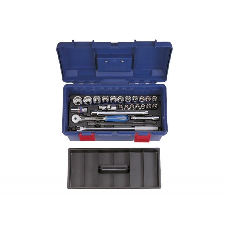 """Caisse à outils de douilles métriques et accessoires 1/2"""" - 25 pièce"""