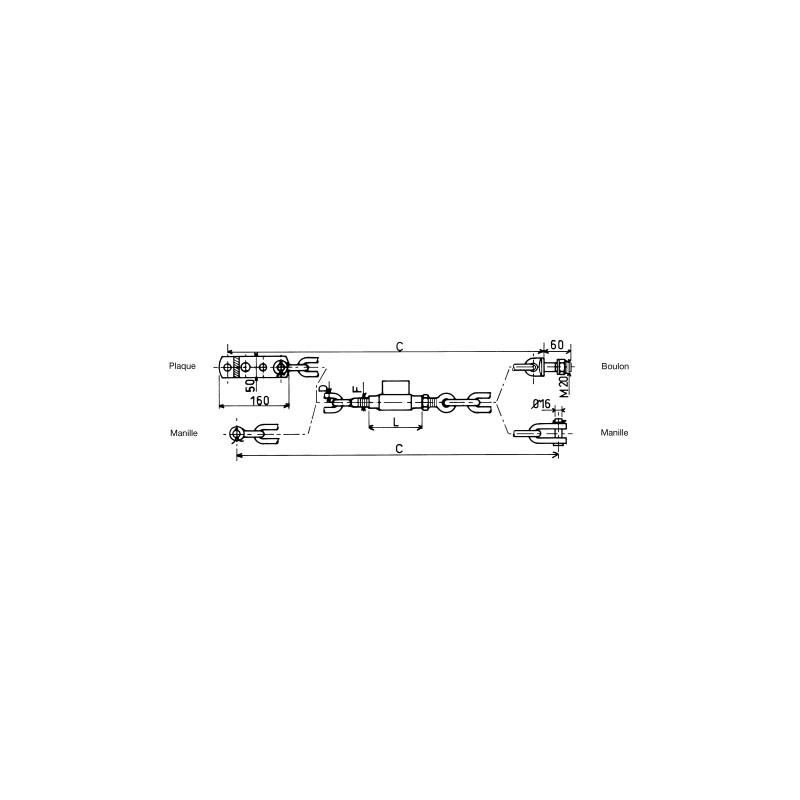 CHAINE STABILIS. D12 16X2 L550 POUR FIAT