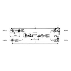 Chaine stabilisatrice diamètre 18 mm 22x2.5 l.670 pour Fiat