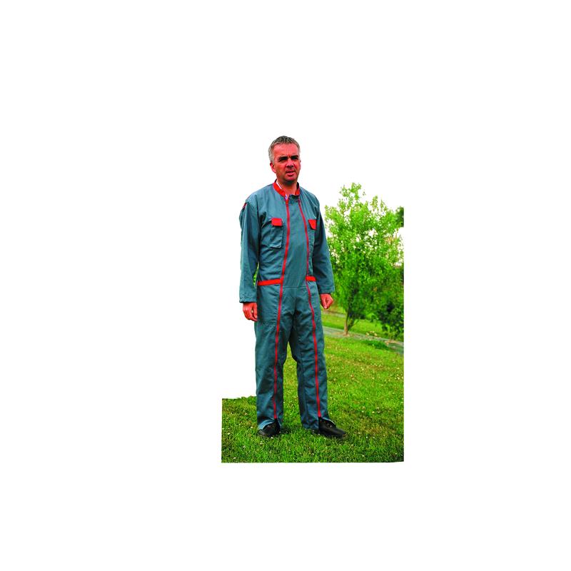 COMBINAISON TERGAL GRISE POCHE ROUGE 2FERM T2 44/46