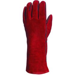 Gant soudeur vachette rouge fourre