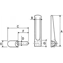 Penture à souder + gond diamètre 16 mm complète