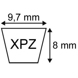 Courroie crantée XPZ 9.7x08 longueur 1762 mm