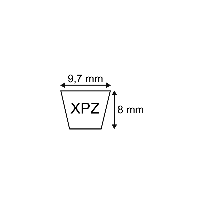 COURROIE CRANTEE XPZ 9,7X08 Longueur 1800mm