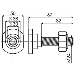 Axe de Lame de Gyrobroyeur 24x67 mm adaptable GIRAX